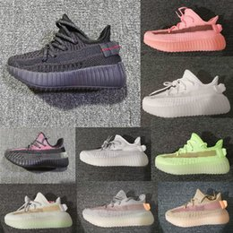 Wholesale fabrics children resale online - Kanye West M Reflective Infant Yecheil Kids Running Shoes Static Glow Green Clay Trainers Big Small Boy Girl Children Toddler Sneaker Black