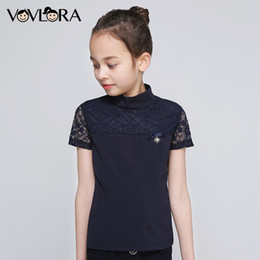 Y T Shirts Australia - School Girls T Shirts Lace Patchwork Cotton Kids T-shirt Tops Summer Short Sleeve Children Clothes 2019 Size 6 7 8 9 10 11 12 Y J190427
