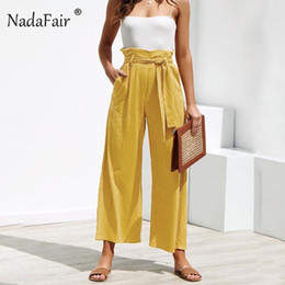 Wholesale wide trousers summer resale online – Nadafair Casual High Waist Straight Pant Women Belted Wide Leg Capris Trouser Spring Summer Ankle length Pants Female MX190716