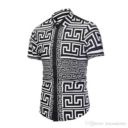 Chinese Collar Shirts Mens UK - Fashion- Casual Chinese Style Business Mens Tops Printed Short Sleeves Button Single Breasted Shirt Stand Collar Shirts for Men New Summer