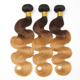 $enCountryForm.capitalKeyWord Australia - Wholesale 1B 4 27 Ombre Body Wave Bundles Brazilian Hair Weave Bundles Malaysian Body Wave Peruvian Hair Bundles 3 Pc Bag