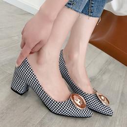 Black Blocks Australia - YMECHIC High Heels Office Shoes Women White Black Plaid Slip on Metal Decor Pointed Toe Chunky Block Heel Ladies Pumps Summer