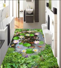 Pond Wall Stickers Australia - 3d pvc flooring custom photo Waterproof Self-adhesive floor Pond lotus leaf carp sticker home decor living room wallpaper for walls 3 d