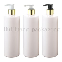 shampoo bottle gold Australia - 500ml X 12 empty white cosmetic body lotion container with gold collar pump lotion shampoo bottle cosmetic packaging container
