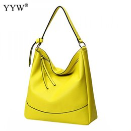 yellow hand bags Australia - High Quality Leather Shoulder Bags For Women 2019 Yellow Handbag Bag Large Capacity Tote Ladies Hand Bags Shopping
