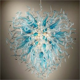 Living room chandeLier saLe modern online shopping - Glass Chandelier Lightings handmade Modern Art Deco Dale Chihuly Style Tiffany Style Glass Best Sale Led Blue Pendant Lamps