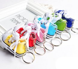 key ring canvas NZ - Creative Mini Canvas Shoes Keychain Cell Phone Key Chain Cute Canvas Sneaker Keyring Handbag Pendant Tennis Shoe Key Ring 8 Styles F935L F