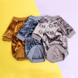 Dark autumn clothing online shopping - NEW Tide Brand Pet Clothes Letters Cat Dog T Shirts High Quality Dog Apparel Teddy Bulldog Schnauzer T Shirts