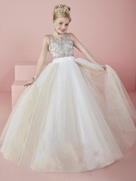 kids t shirt images Australia - CheapLittle Girls Pageant Dresses wear 2018 New Jewel Neck Crystal Beads Formal Tulle Formal Party Dress for Teen Kids Flowers Girls Gowns