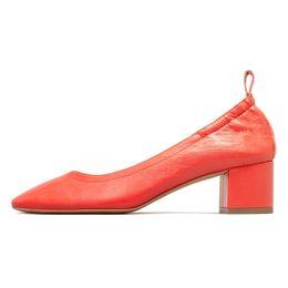 $enCountryForm.capitalKeyWord UK - Shoes Women Genuine Leather Orange Office and Career Rounded Toe 2-inch Block Heel Fashion Office Lady Pumps Size 34-40,