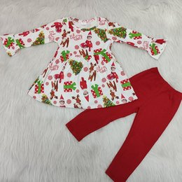 vintage tutus for girls UK - Fashion Kids Girl Vintage Christmas ELF Long Sleeve Tunic Top and Red Pants Boutique Clothing Sets Baby & Kids Clothing Outfit For Xmas