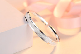 $enCountryForm.capitalKeyWord Australia - 999 fine silver ms quicksand hand ring opening two line smooth geometry type contracted fine lettering silver bracelet