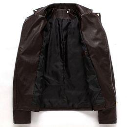 British Motorcycle Jackets NZ - Men's Fashion PU Leather Jacket Spring and Autumn New British Wind Men's Leather Motorcycle Jacket Men's Jacket Black Brown M-3XL