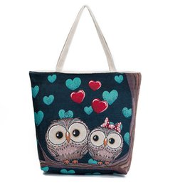 $enCountryForm.capitalKeyWord Australia - Fashion Women New Fashion Owl Printed Cute Handbags Female Catoon Canvas Shoulder Bag Ladies Book Bag Large Shopping Totes