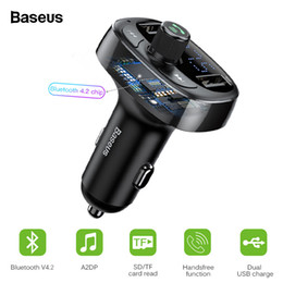 audio rock Australia - Baseus Bluetooth 4.2 Car Charger Kit Fm Transmitter Handsfree Audio Mp3 Player 3.4a Dual Usb Aux Modulator Mobile Phone Charger T190627