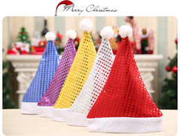 christmas sequins Australia - adult Christmas Sequin Hats Santa Claus Christmas Cotton Cap Christmas Gift Decor Hat Party Supplies 5 colors KKA7548