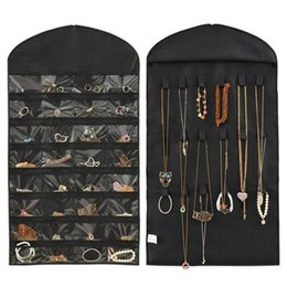 Organizer Hangs Jewelry Storage Australia - Jewelry Hanging Storage Bag Pouch Necklace Bracelet Earring Pouch Organizer Display 32 Pockets Pochette Bijoux Jewelry Bags