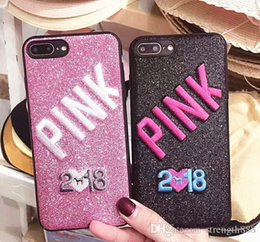 3d Iphone Plus Case Bling Australia - New PINK Bling Soft TPU Case For Iphone X 8 7 Plus 6 6S Samsung Galaxy S9 Glitter 3D Embroidery Love Pink Cell Phone Skin Cover
