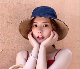 block shop Australia - Two-sided fisherman hat woman summer shopping Japanese joker version tide spring and autumn sun block hat summer