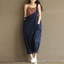 Plus Size Dresses Jumpsuits Australia - Zanzea Women Strappy Sleeveless Bib Overalls Rompers Pockets Dungaree Spring Cotton Linen Long Suspender Jumpsuits Plus Size Y19060501