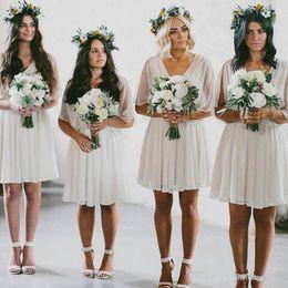$enCountryForm.capitalKeyWord Australia - Summer Beach Bridesmaid Dresses Short Flow Chiffon Boho Wedding Party Wear Plus Size Maid of Honor Gowns