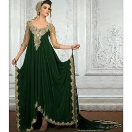 Wholesale 2019 New Decoration Dubai Kaftan Prom Dress velour Saudi Arabic Gown Gorgeous Green Sweep Train Middle East Evening Dress Vestido De Festa