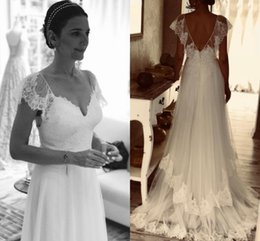$enCountryForm.capitalKeyWord Australia - Stylish V Cut Top Boho Wedding Dresses Spring 2020 With Short Lace Sleeves Tiered Skirts Sweep Train Vestidos A Line Bridal Gown AL2587