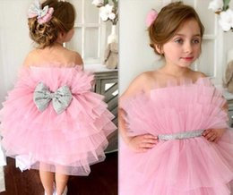 puffy skirt dresses knee length NZ - Cute Pink Baby Girl Birthday Gown Knee Length Puffy Tiered Skirt with Silver Bow Girls Costumes Pageant Dresses