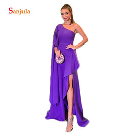 black dinner gowns 2019 - One Shoulder Dramatic Sleeve Formal Evening Dresses Purple A-Line African Evening Gowns Leg Slit Women Dinner Party Gown