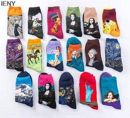 $enCountryForm.capitalKeyWord Australia - IENY Hot autumn and winter retro female personality art mural world famous painting men's socks oil funny happy socks