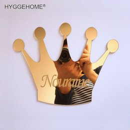 Names Stickers Australia - 1pcs Mirrored Crown With Personalized Name Acrylic Mirror Sticker Customized Kid's Birthday Decoration Guest Gift Party Favors Q190605
