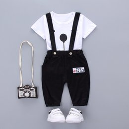 baby boy bear suits UK - 2pcs set Toddler Infant Summer Baby Girls Boy Clothes Short Sleeve Bear Overalls Suit Outfits