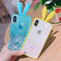 star cases NZ - Shockproof Cute Rabbit Glitter Star Quicksand Liquid Phone Case For Iphone X 6 6S plus 7 7plus 8 8 plus Candy Colour Back Cover Shell Case