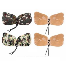 Femmes Corde Camouflage Couleur Fly Wings Forme Silicone Invisible Push Up Autocollant Avant Fermeture Collant Sein Tétine Bras 100Pcs RRA1488 en Solde