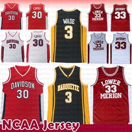 8ea597fa22a Dwyane 3 Wade Stephen 30 Curry Kobe 33 Bryant NCAA Jersey Marquette Golden  Eagles Davidson Wildcats College Lower Merion Basketball Jerseys
