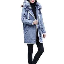 fashion liner 2019 - Winter Clothing For Women Parka Long Sleeve Hooded Solid Meidum Long Denim Coat 2019 New Fashion Ladies Casual Wool Line
