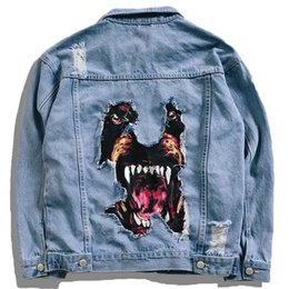 Chinese  Creative Dog 3d Patch Design Jackets Men Casual Denim Jean 2019 Spring Fashion Windbreaker Overcoats Harajuku Streetwear manufacturers