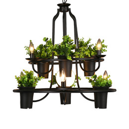 $enCountryForm.capitalKeyWord UK - Plant chandelier retro industrial D70cm LED lamps pastoral style restaurant cafe iron bar coffee flower Art Home lighting G177