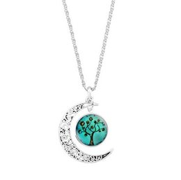$enCountryForm.capitalKeyWord Australia - The Tree Of Life Necklaces For Girls Ladies Glass Silver Plated Moon Pendant Necklaces Gift Idea Woman Chokers