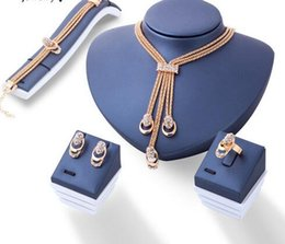 Red Leather Dresses Australia - Rose Gold Color Crystal Necklace Earring Bracelet Ring Set Rhinestone New Simple Party Dress Jewelry Sets For Women
