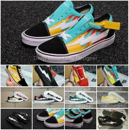 Black White Red Canvas Prints Australia - Revenge X Storm Old Skool Canvas Designer Sneakers Women Men Low Cut Skateboard Yellow Red Blue White Black Casual Shoes D5