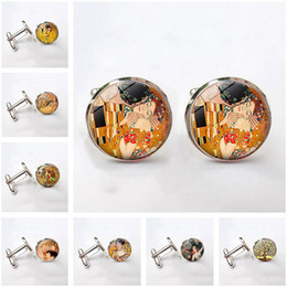Discount tie patterns - Luxury Cufflinks Jewelry with Silver Color Gustav Klimt The Kiss Pattern Glass Cabochon High Quality Cufflinks