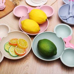 Dinnerware Plates Bowls Australia - 3Pcs Set Baby Food Storage Tableware Toddle Solid Cute Cartoon Dishes Kids Plate Bowl Eco-friendly Children Training Dinnerware