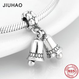 $enCountryForm.capitalKeyWord Australia - 925 Sterling Silver small bell Christmas Party gift fine Pendants Beads Fit Original Pandora Charm Bracelet Jewelry making