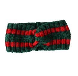 knitting scarf designs 2019 - Hot Women's Scarf Red and green stripes Design Elastic Headband knit Hair Bands for Men and Women Retro Turban Best