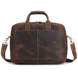 Wholesale BOLEKE Vintage Brown Thick Durable Genuine Leather Men Messenger Bags Crazy Horse Leather Portfolio Laptop Briefcase
