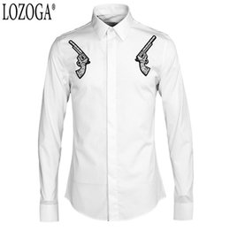 Double Shirt Designs Australia - Lozoga 2019 Men Shirts Double Gun Embroidered Men's Shirts Wholesale Trendy Mens Original Brand Design Casual Street Wear