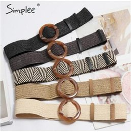 $enCountryForm.capitalKeyWord Australia - Bohemian wide belt for women Straw buckle belt decoration dress belt Casual female braided wide strap jade accessories