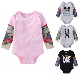Discount baby rock clothes Toddler Baby Clothes Tattoo Printed Sleeve Boy Romper Flower Infant Girl Jumpsuits Children Hip Hop Rock Bodysuits Baby Clothing DW5362