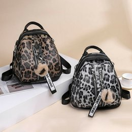 College wind baCkpaCks online shopping - A new type of women s fashion bag printed with leopard pattern leather waterproof college wind bag belt
